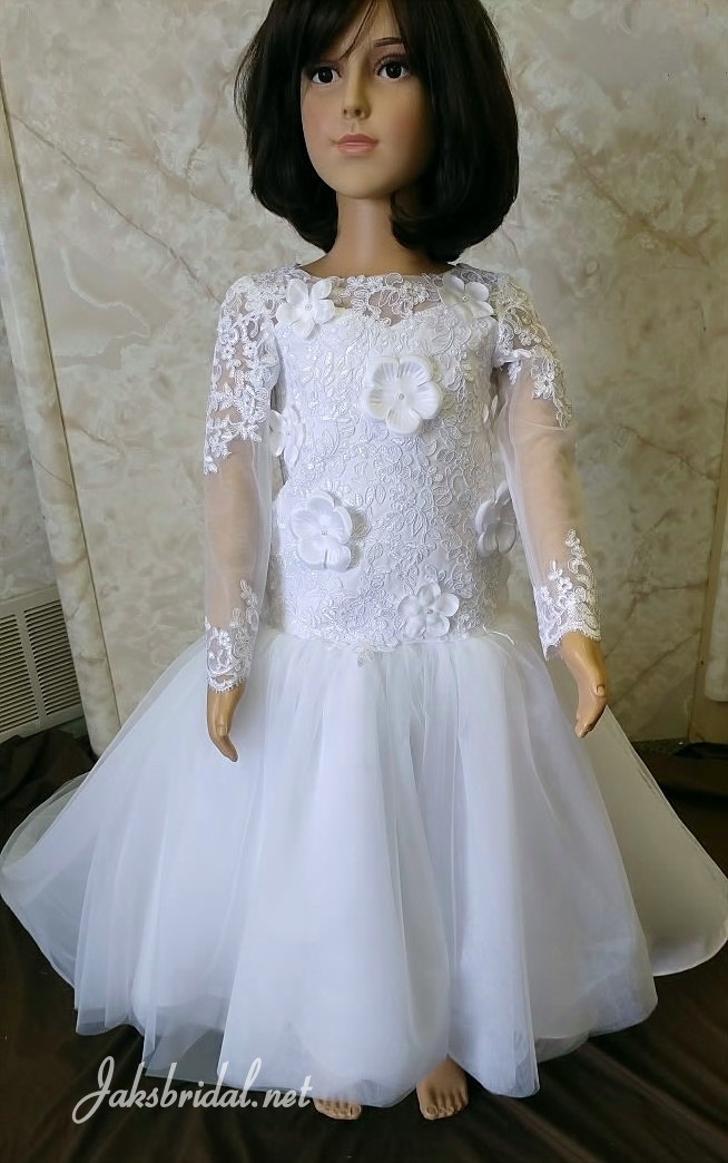 Floral lace long sleeve flower girl dress