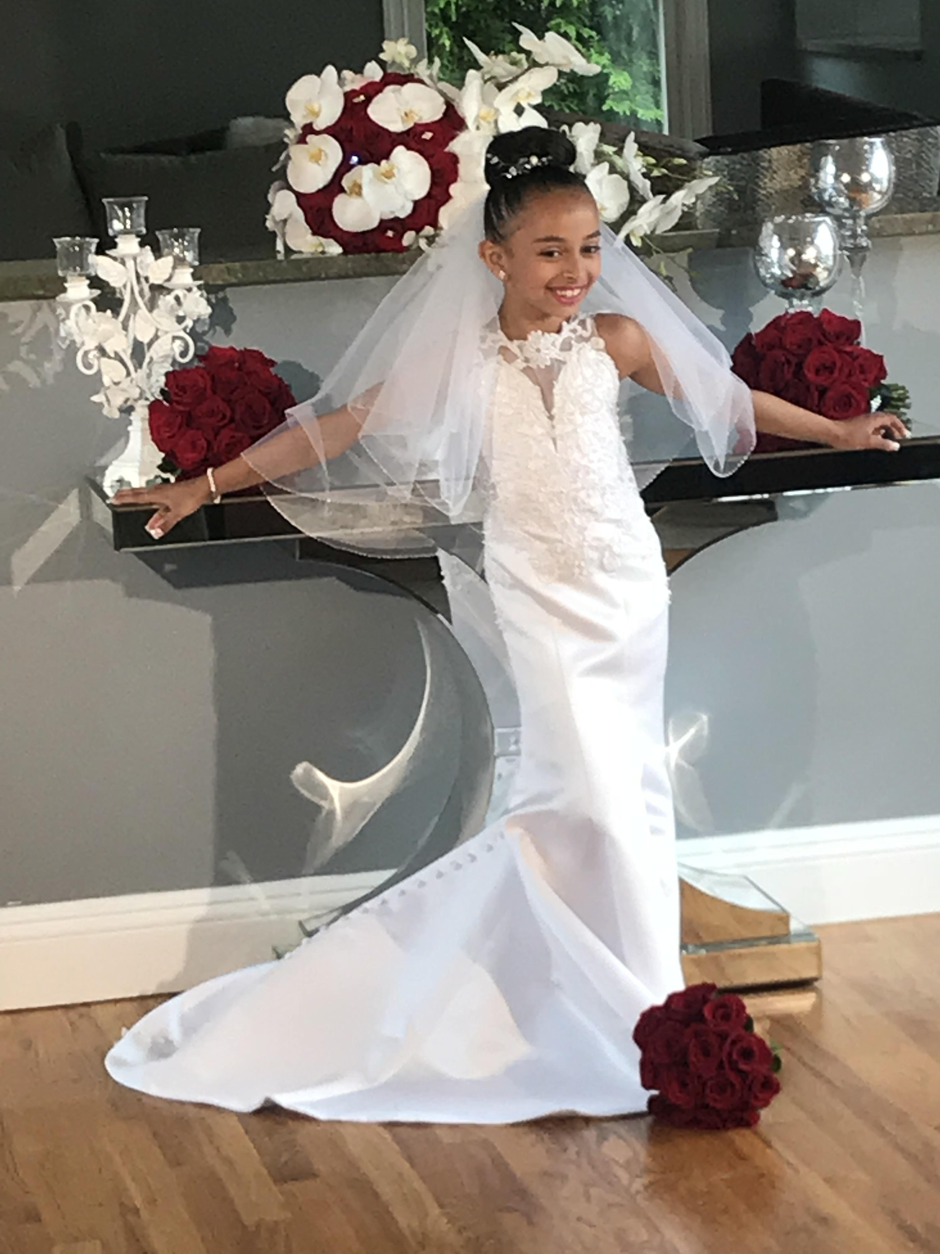04985ddbea2 Flower girl dresses made to match the brides wedding dress.