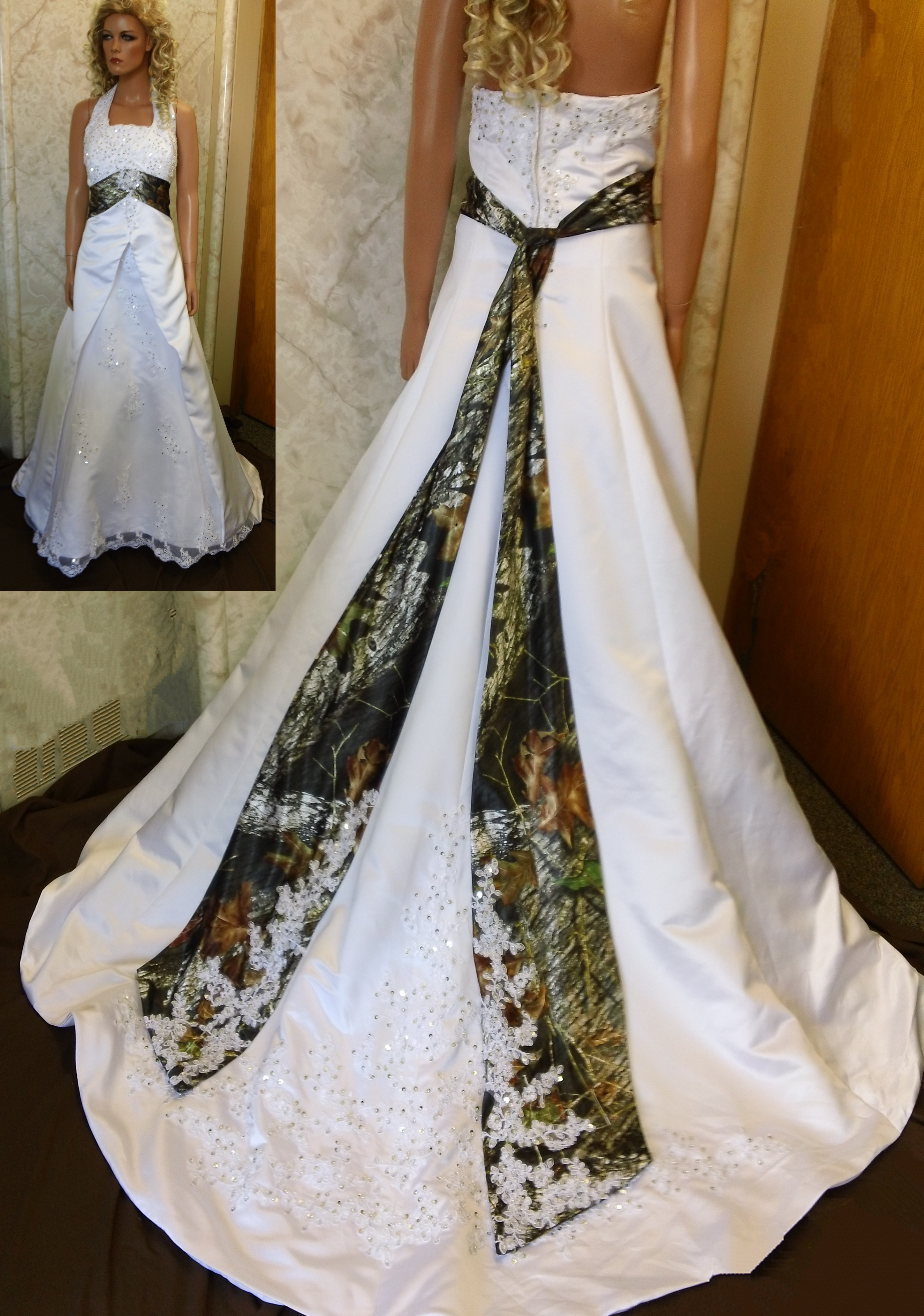 wedding gowns with camo accents