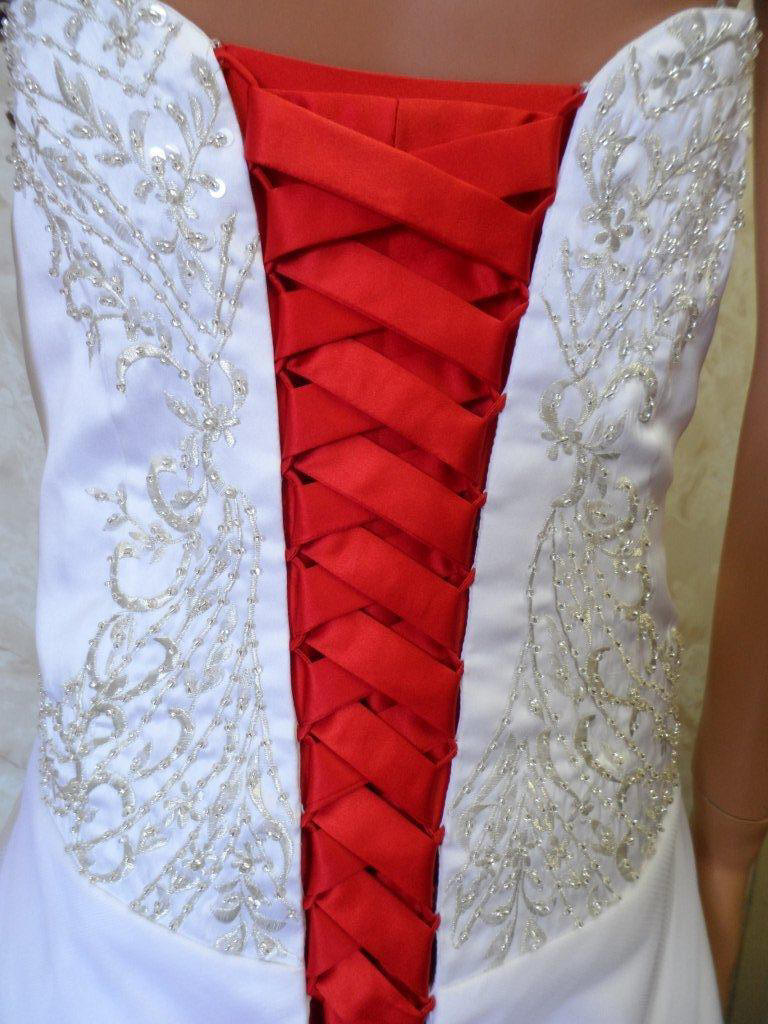 Wedding Dress With Red Corset : Red and white corset wedding dress images