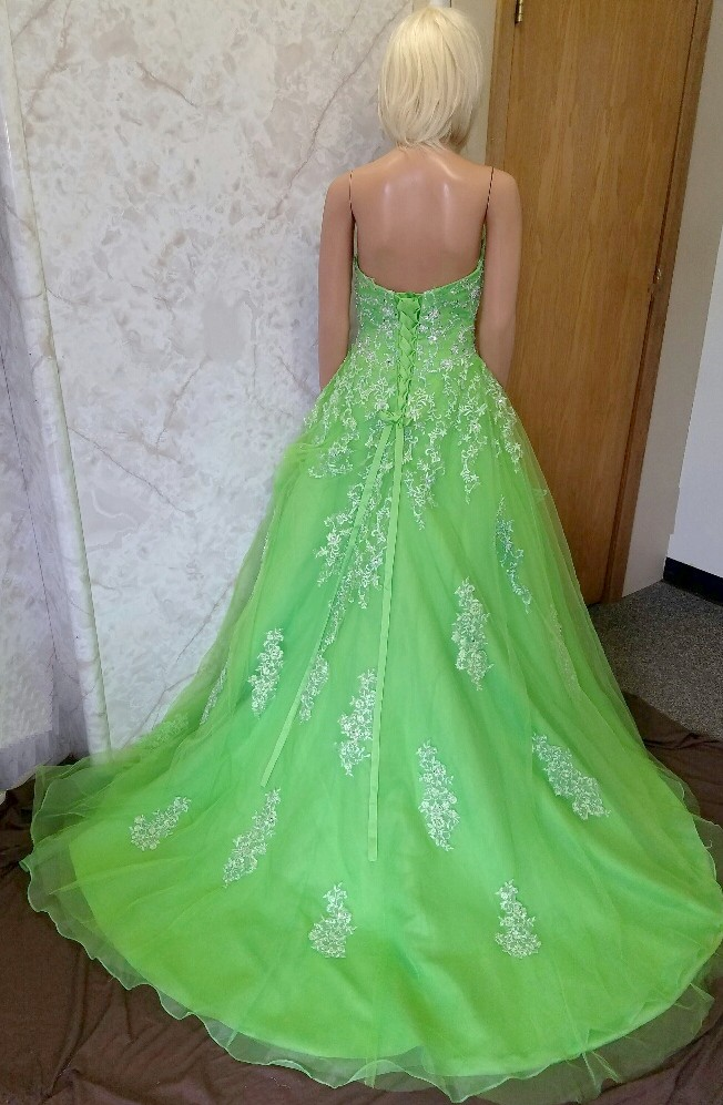 Lime Green Wedding Dress And Veil