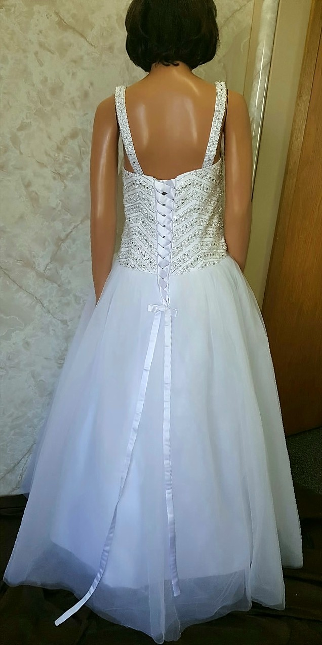 Long wedding reception dress.