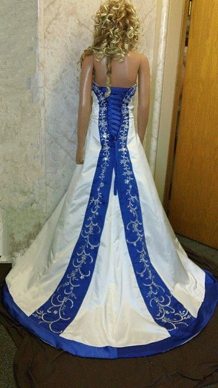 Ivory and Royal Blue wedding dress.