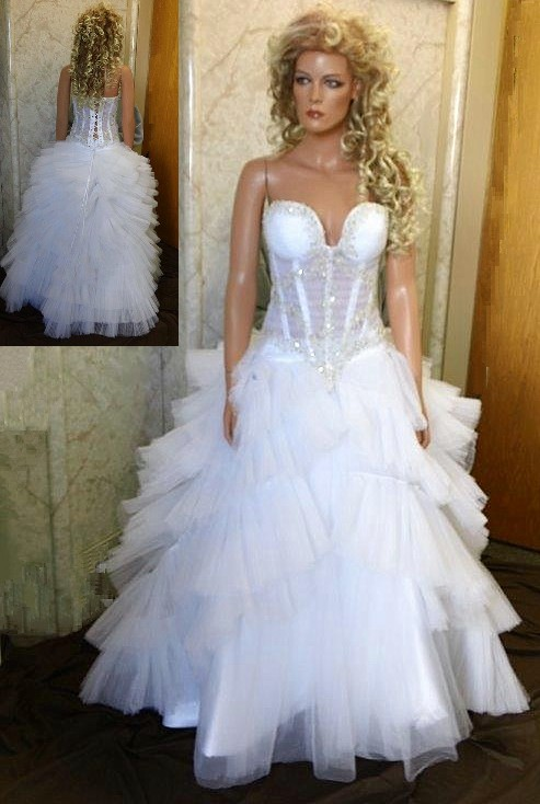 See through corset wedding dress.