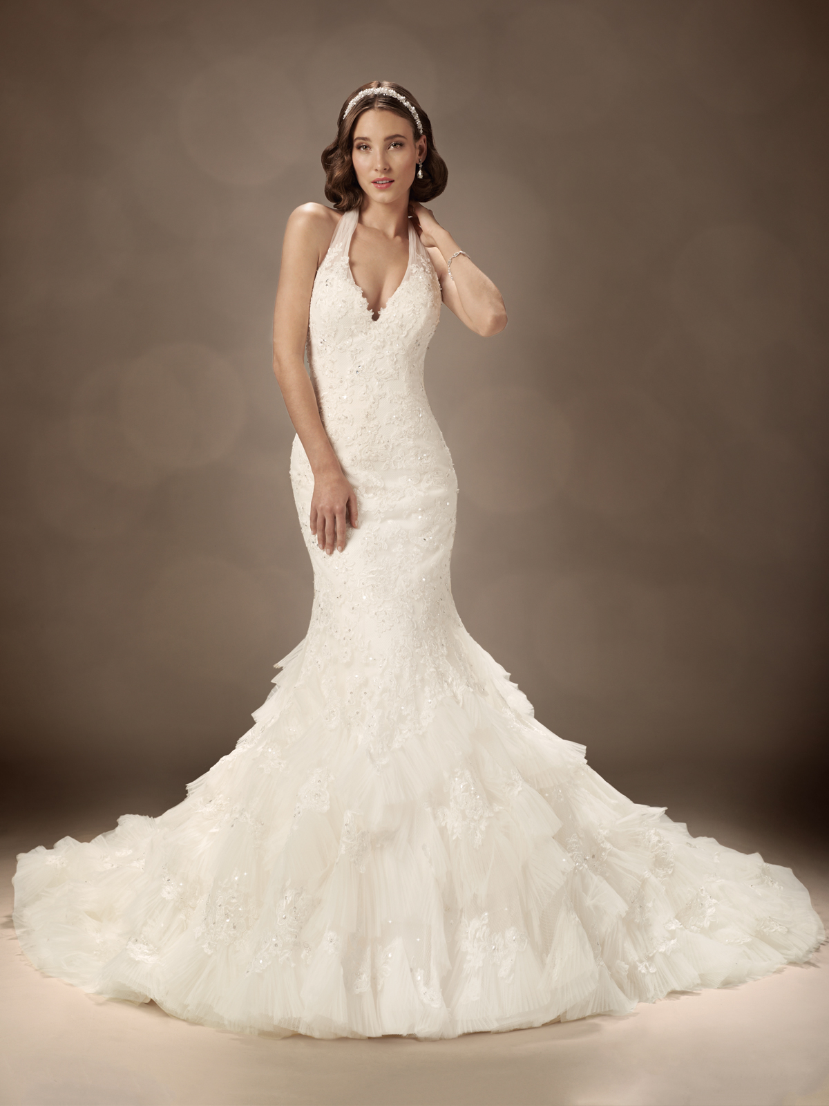Plunging Halter Wedding Gown