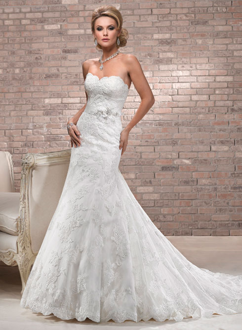Fit and Flare Lace Wedding Gown.