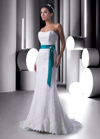Lace mermaid wedding gown with turquoise sash for Blue sash for wedding dress