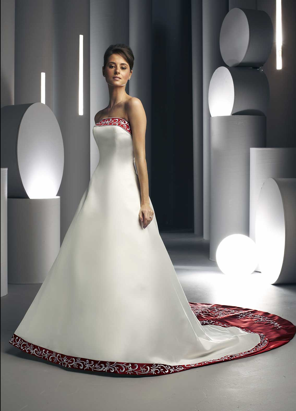strapless white and apple red wedding dress