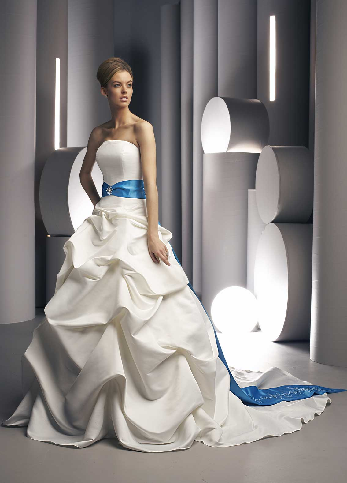 White Wedding Gown with blue sash