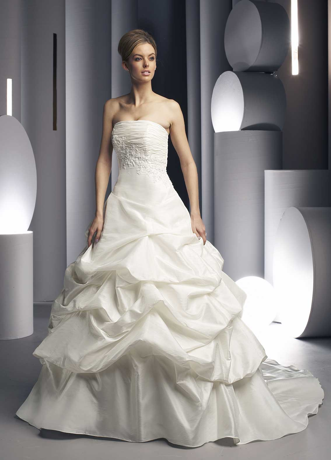 56ad4a9791fc Wedding gown with pleated bust-line