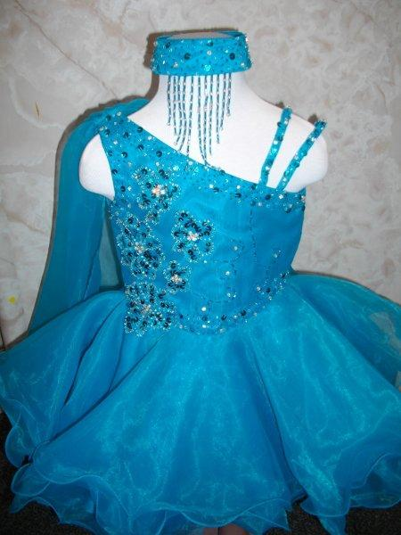 Blue Turquoise Baby Girl Pageant Party Dress 12-18 Mo