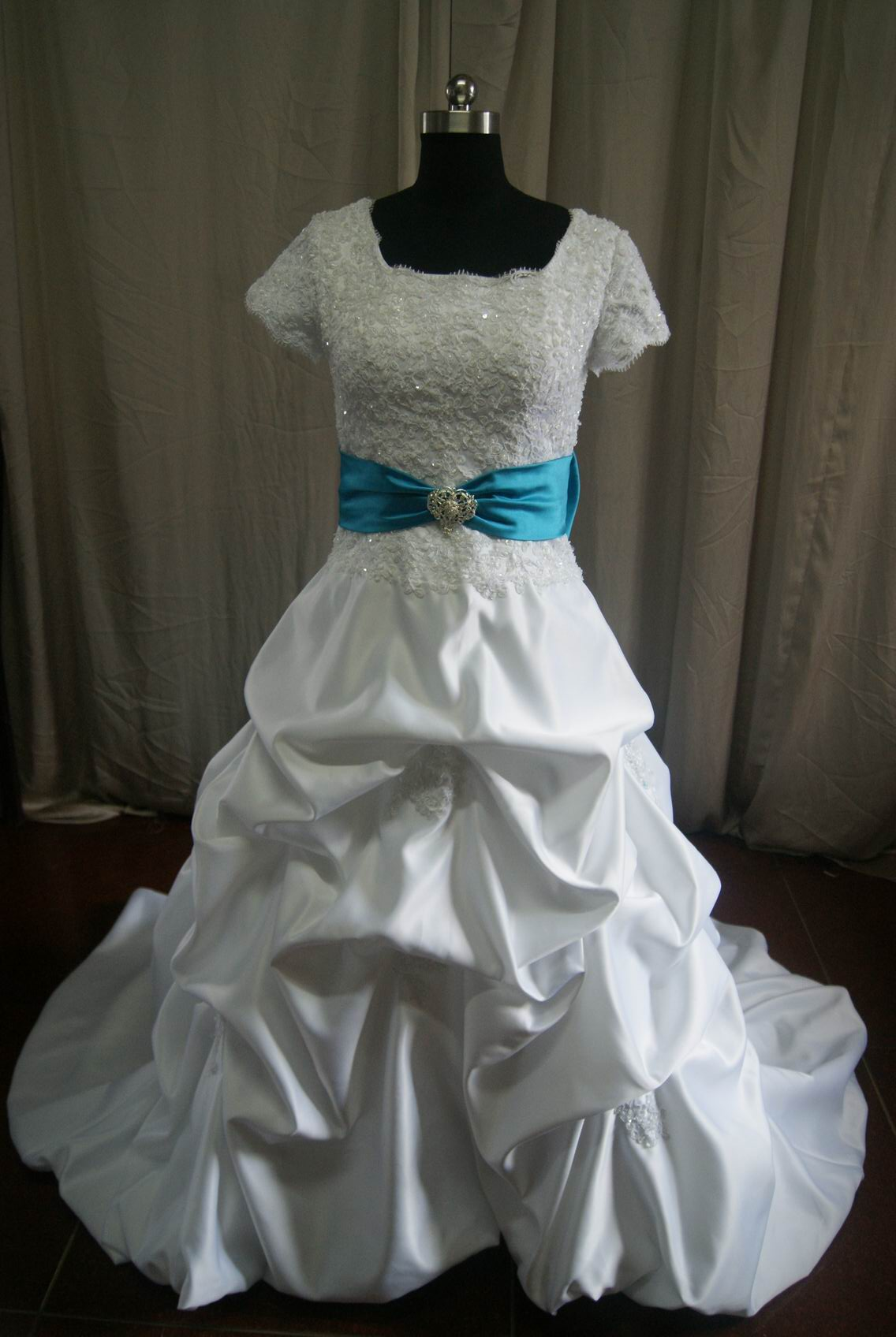 White Satin and Lace Pick Up Drop Waist Wedding Gown