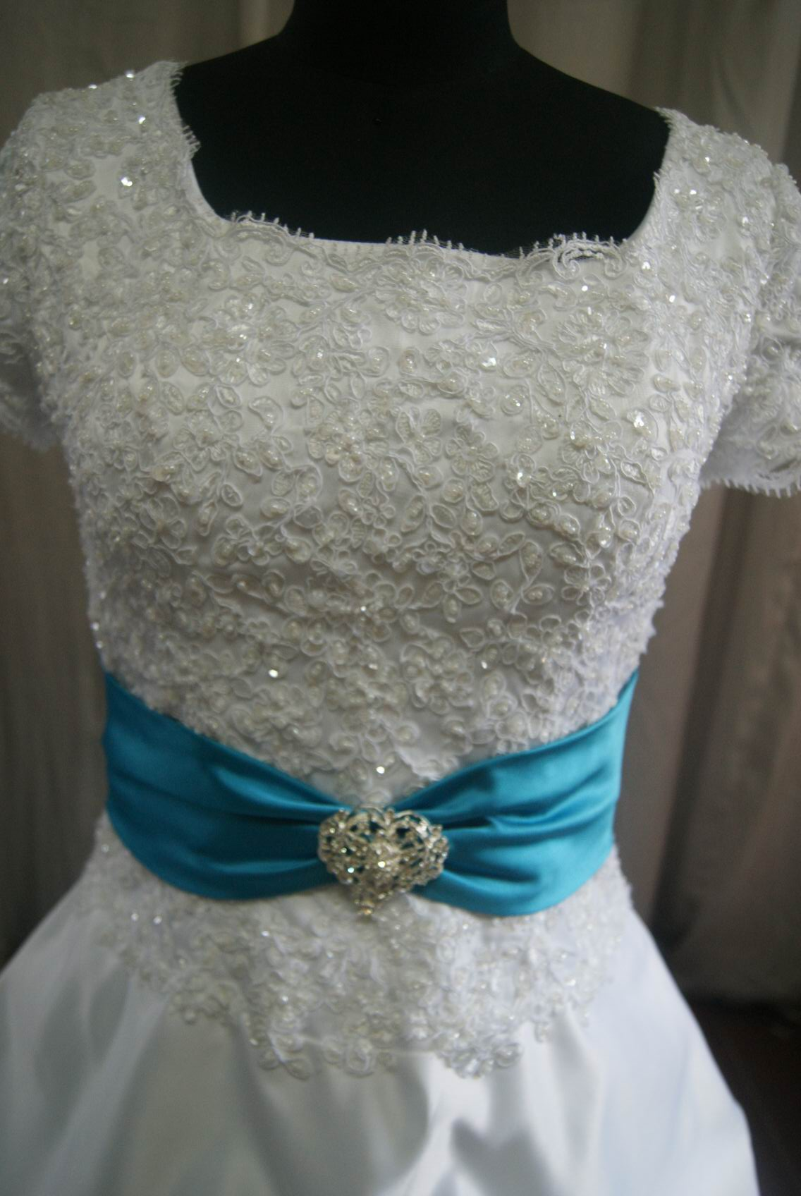 White Satin And Lace Pick Up Drop Waist Wedding Gown, Lace Drop Waist Dress  With Turquoise Sash ...