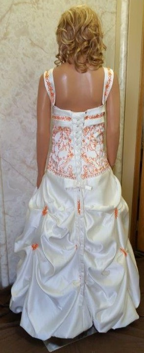 ivory and orange wedding dress