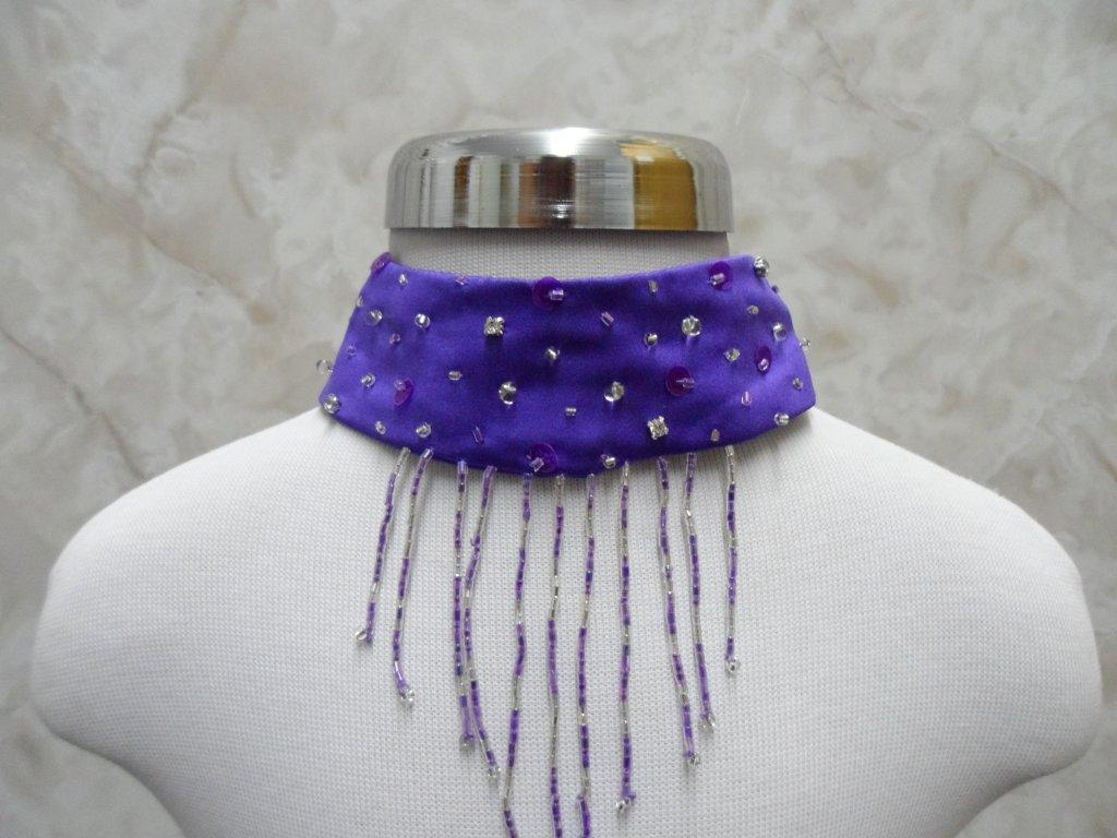 purple detachable jeweled and beaded collar