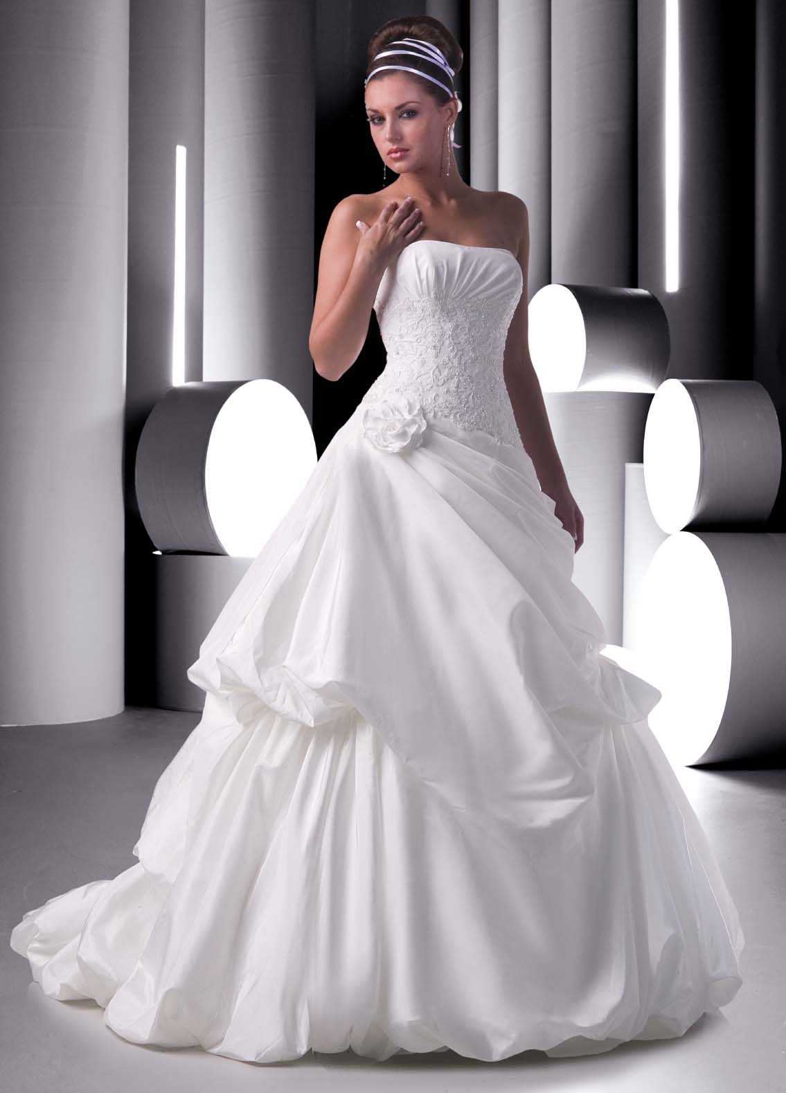 wedding dress with bubble hem