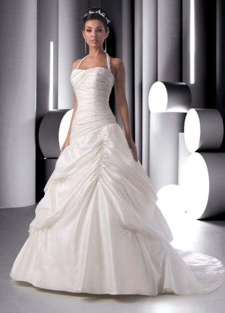 Halter wedding gown.