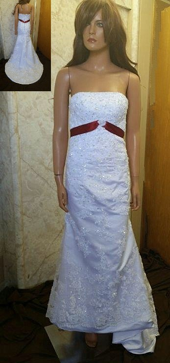 white and merlot wedding dress
