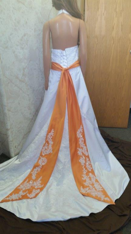 White And Tangerine Wedding Dress