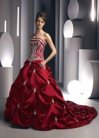 red bride wedding dress