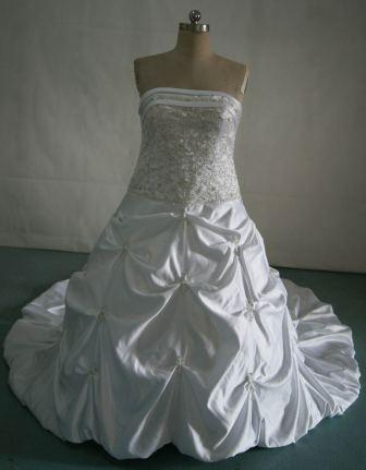 white strapless wedding gown with metallic silver beading