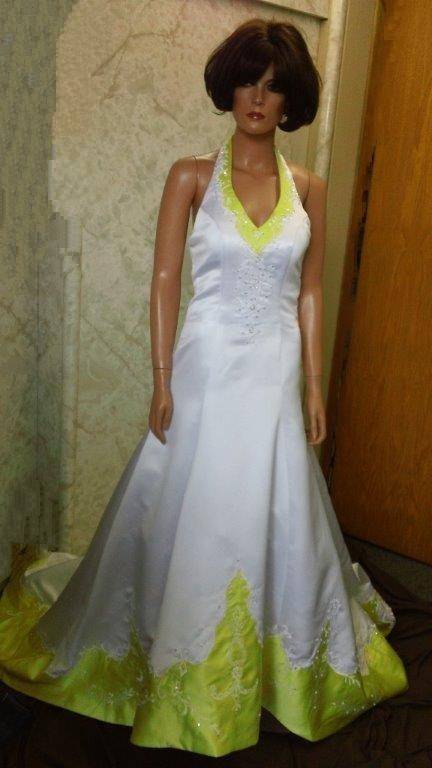 white and yellow halter wedding dress