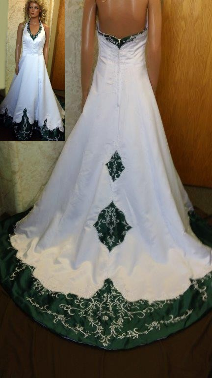 White Emerald Green Wedding Dresses