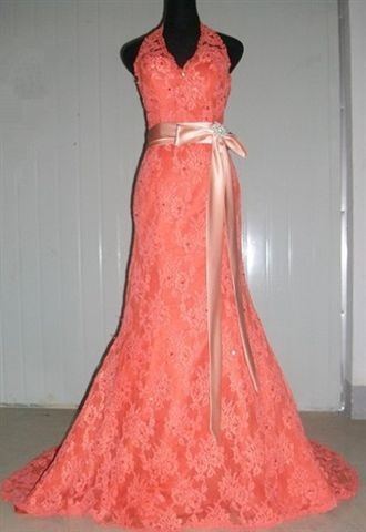 Persimmon dress with peach sash