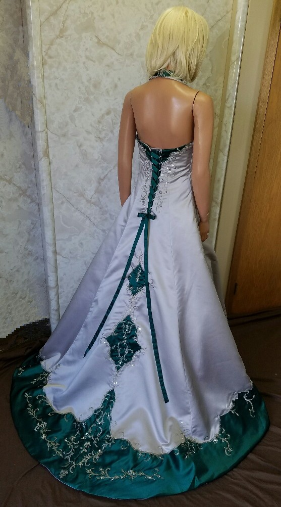 silver and green wedding dress