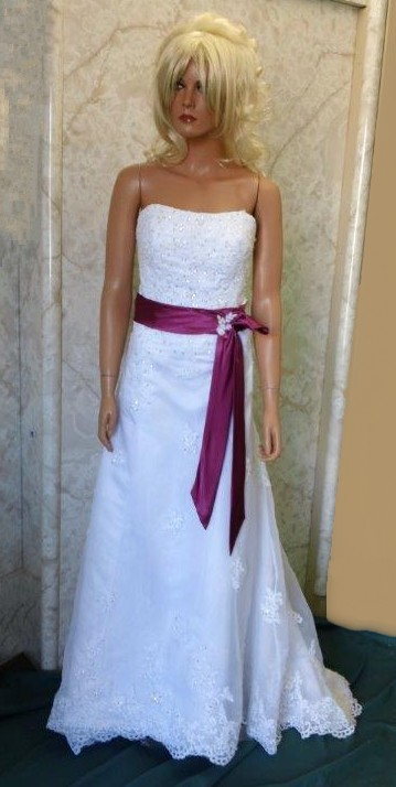 White Wedding Gown With Fuschia Sash
