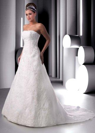 Lace strapless wedding gown.