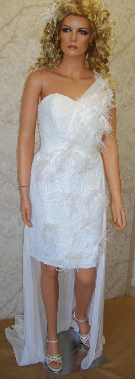one shoulder sequin and feather dress
