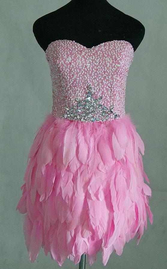 Pink Feather Skirt Mini Dress.