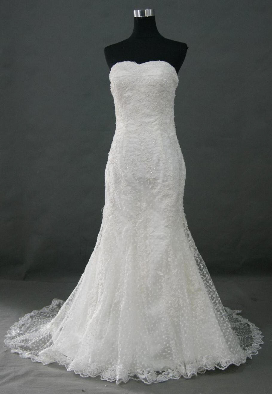 Fitted lace mermaid style wedding gowns.