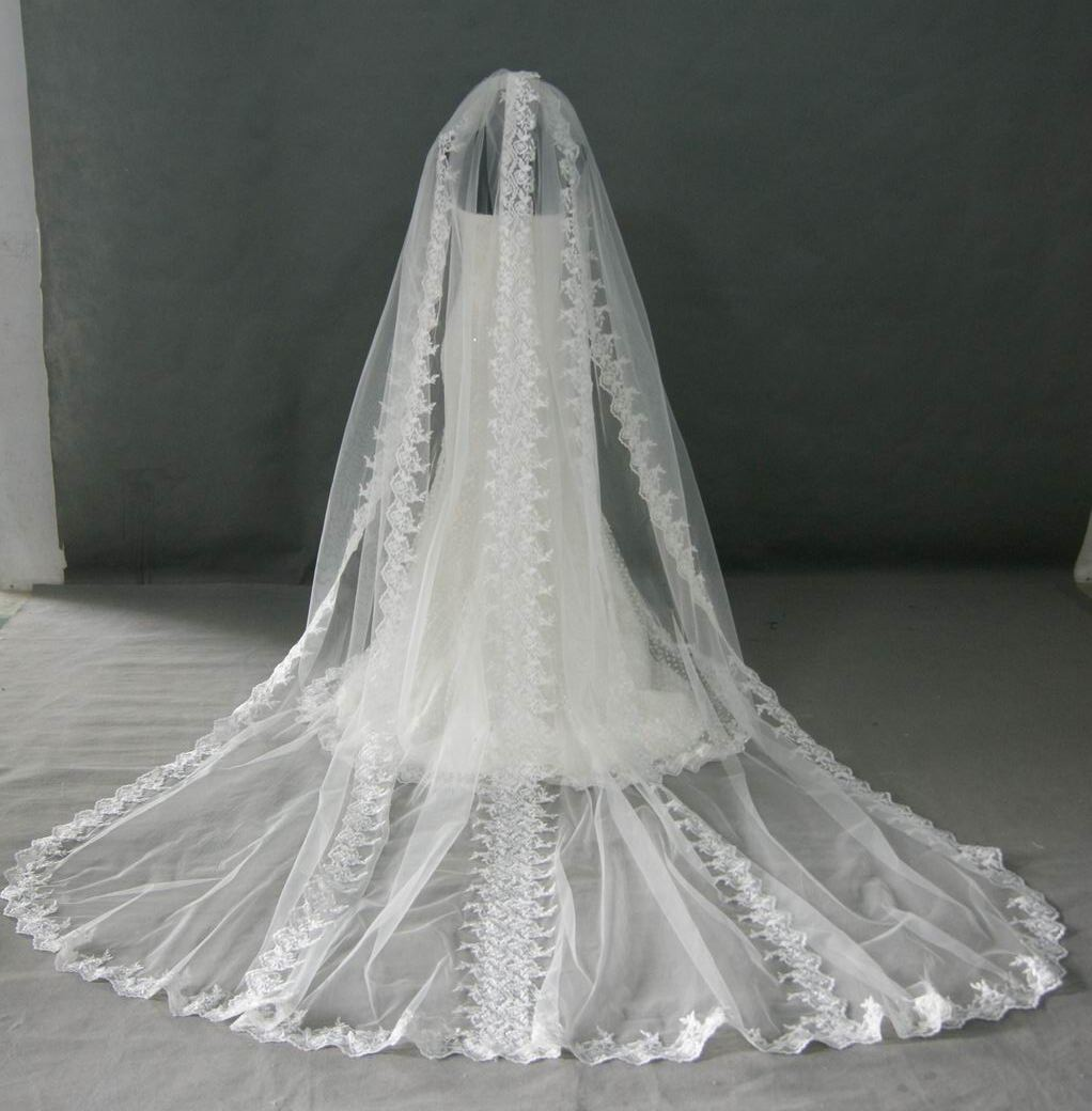 cff8359297 white lace trim cathedral length veil ...