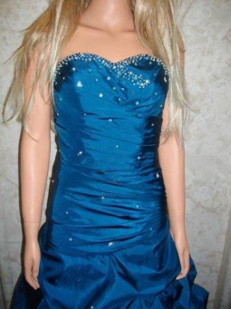 Teal sweetheart ruched prom dress