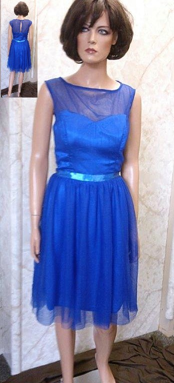Royal blue sheer illusion bridesmaid dress