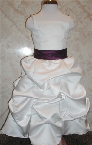 white flower girl dress with plum trim