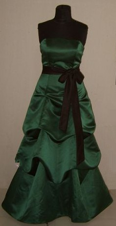 Forest Green pick up Dress with Black Sash
