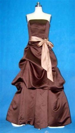 Chocolate pick up dress with antique brass sash