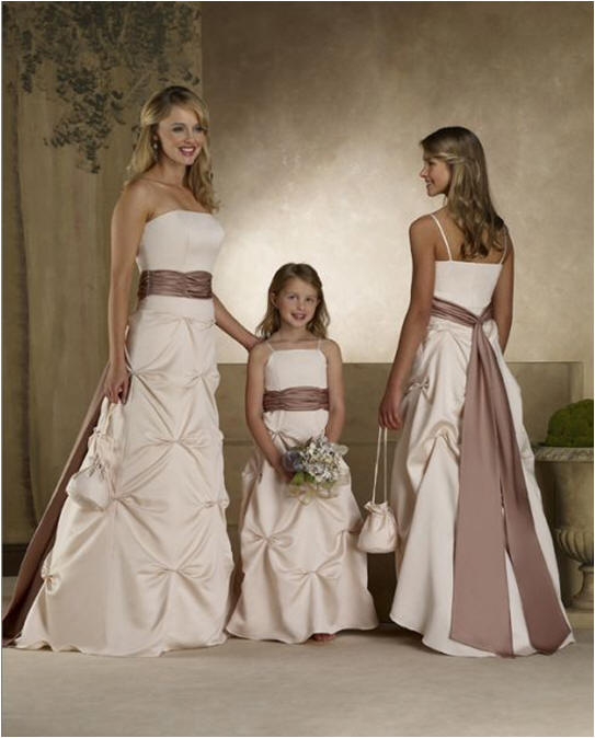 diamond shaped pick up bridesmaid dresses matching flower girl dresses