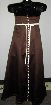 Chocolate dress with light ivory trim