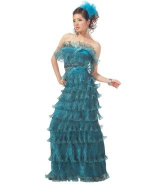 blue pleated ruffle quinceanera dress