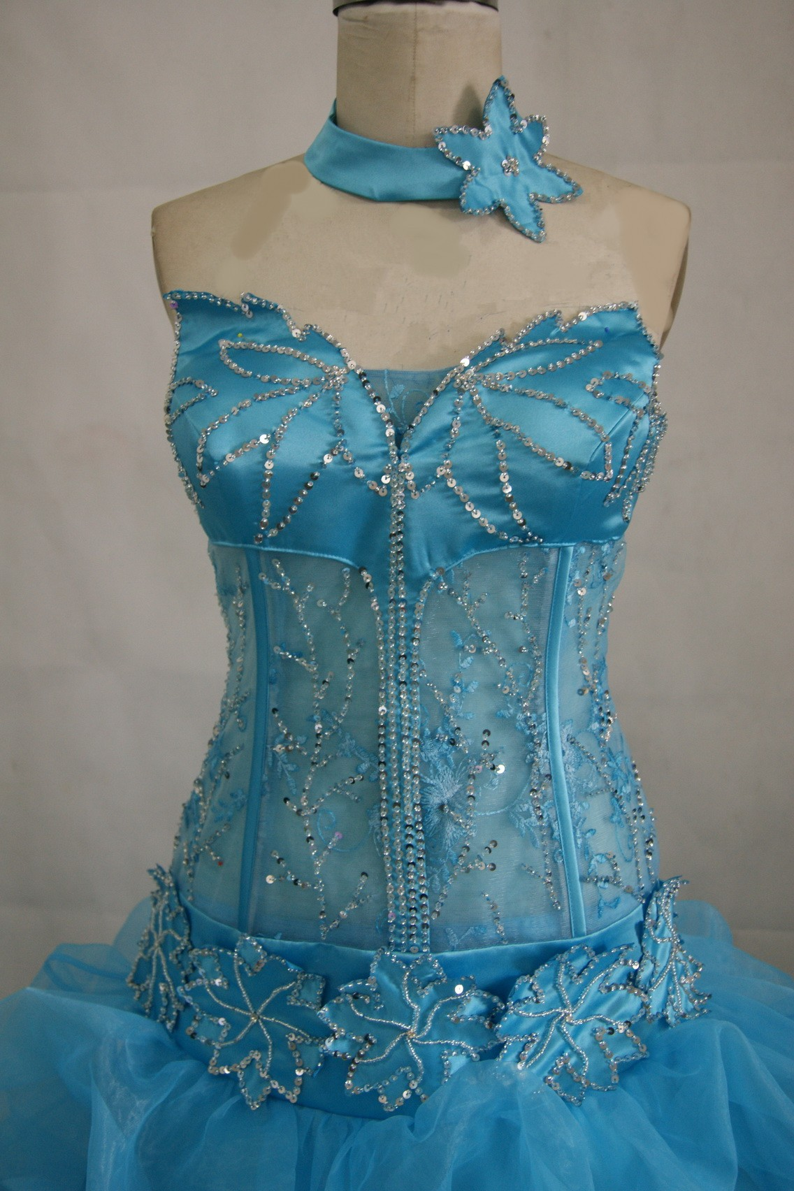 pool blue see through corset gown