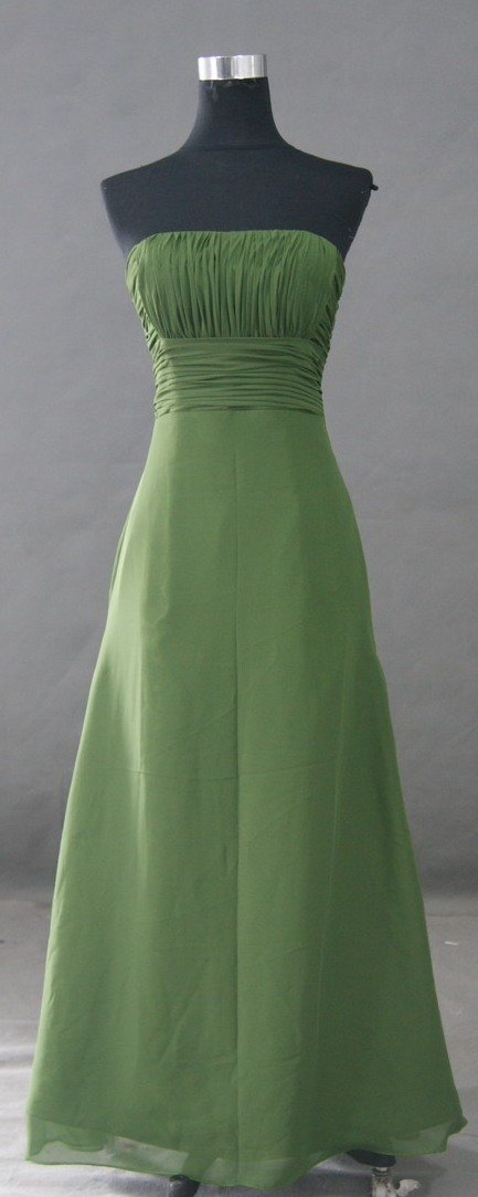Long green chiffon bridesmaid dress.