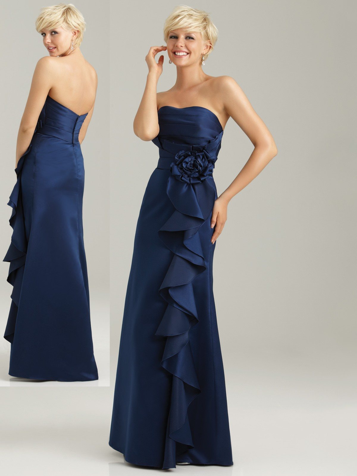 Strapless navy blue bridesmaid dress navy blue formal dress ombrellifo Image collections