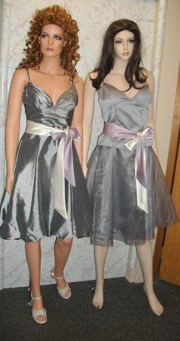 taffeta and chiffon tea length bridesmaid bubble dress