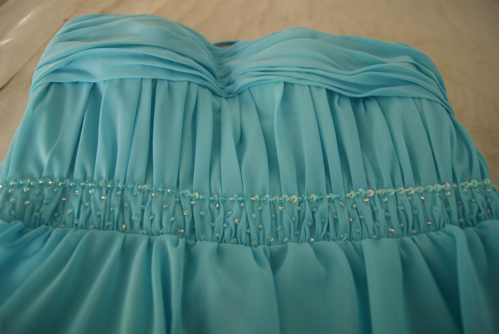 pool blue chiffon bridesmaid dress