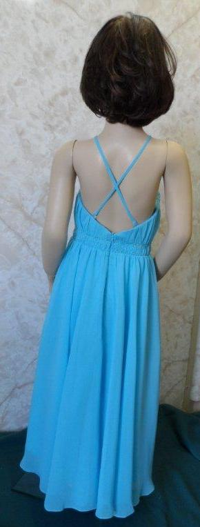 pool blue chiffon junior bridesmaid dress