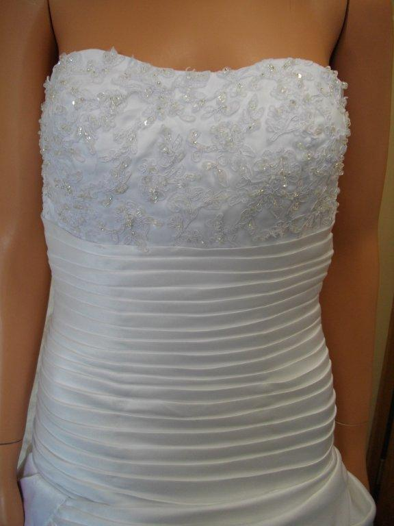 pleated wedding gown